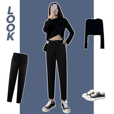 黑色西装裤女春秋九分高腰垂感直筒宽松大码休闲烟管裤子夏季薄款