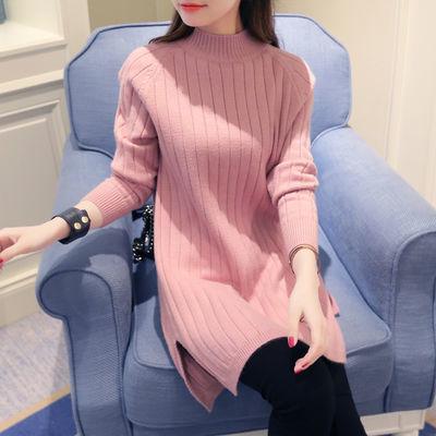 70402/2021秋冬新款半高领韩版女装宽松针织衫中长款打底衫加厚大码毛衣