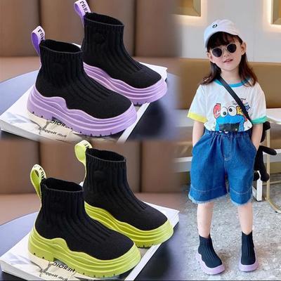 女童鞋子袜子鞋夏季2021新款高帮靴子透气网面飞织鞋儿童运动鞋潮