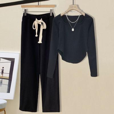 70301/时尚阔腿裤套装初秋季新款2021御姐炸街减龄宽松显瘦休闲两件套女