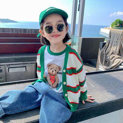 女童外套秋装2021新款小女孩韩版时尚单排扣儿童春秋长袖针织开衫【8月25日发完】