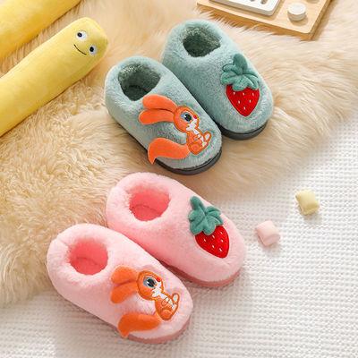 冬季保暖儿童棉鞋包跟男女中小童防滑软底加绒加厚可爱室内棉拖鞋