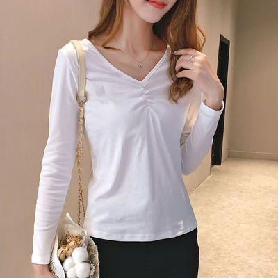 2021春秋季设计感纯色v领打底衫女长袖显瘦性感修身时尚百搭t恤女
