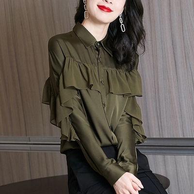 76112/2021新款春秋雪纺衬衫女士长袖法式高端港味荷叶边设计感时尚上衣
