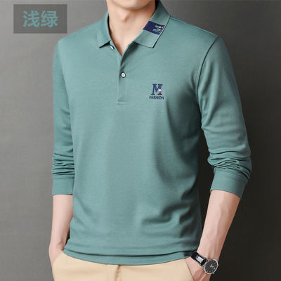 66585/高档新款保罗男士polo衫长袖纯色刺绣t恤春秋季长袖外贸宽松上衣