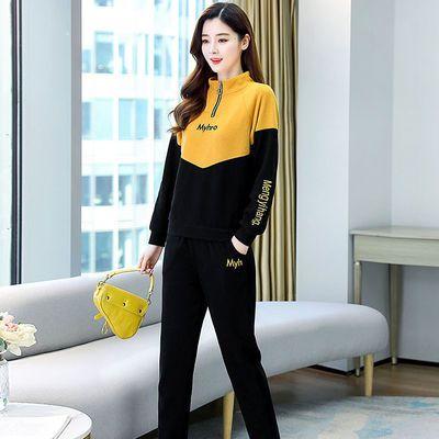 76908/时尚休闲运动服套装女春秋季2021新款减龄显瘦跑步卫衣长裤两件套