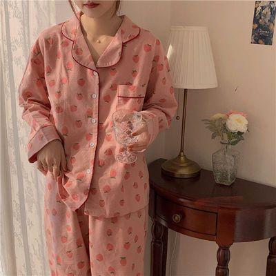 70473/ins新款长袖开衫睡衣女2021春秋季学生韩版宽松甜美女士长裤套装