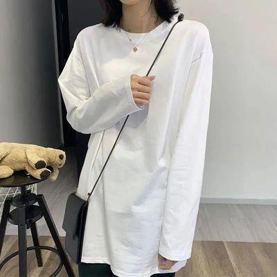 66372/100%纯棉纯白长袖T恤女学生宽松打底衫2021新款韩版初秋内搭上衣