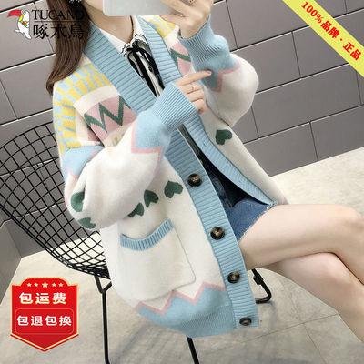 70118/啄木鸟外套女士毛衣开衫春秋2021年新款女装今年流行的针织上衣潮