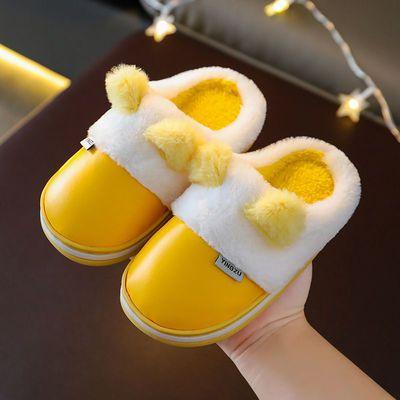 儿童棉拖鞋PU皮防水冬季卡通包跟男童女童防滑家居鞋宝宝保暖拖鞋