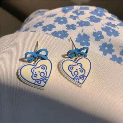 66514/可爱小熊耳钉~蓝色蝴蝶结卡通耳环少女ins小众设计感百搭耳饰耳夹