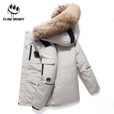 92966/Claw Money羽绒服新款休闲运动男青年连帽工装保暖羽绒服冬装外套