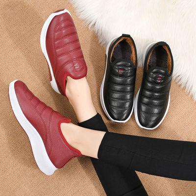 新款棉鞋女冬加绒保暖厚底防滑雪地靴PU防水皮面妈妈棉鞋短棉靴