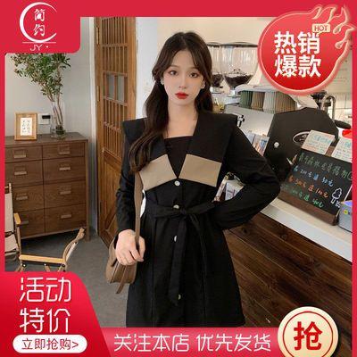 67770/秋季新款法式大码连衣裙气质高级感赫本风收腰显瘦海军领黑色短裙