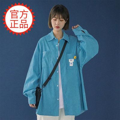 65649/灯芯绒衬衫女春秋百搭设计感小众学生韩版BF宽松复古长袖衬衣外套