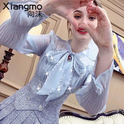 向沫法式衬衫女秋装2021年新款蝴蝶结系带上衣百褶半身裙两件套