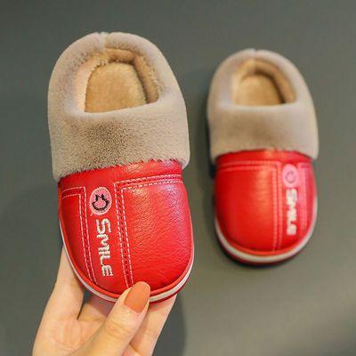 儿童秋冬季新款PU防水防滑棉拖鞋卡通可爱小孩软底保暖室内家居鞋