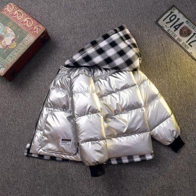 76478/冬季新款儿童羽绒服男童女童亮面防水保暖连帽外套中大童加厚童装