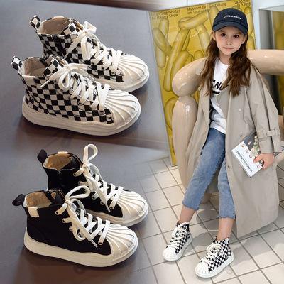 75102/童鞋女童鞋子2021秋新款儿童帆布鞋板鞋男童贝壳头高帮休闲运动鞋