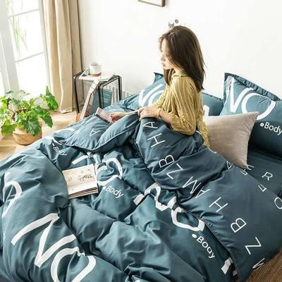73367/新款芦荟棉床上四件套被套床单简约水洗棉柔软三件套单双人四件套