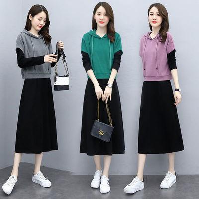 78476/单件/套装两件套 2021年秋季新款气质时尚减龄显瘦长袖黑色连衣裙