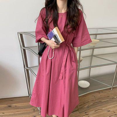 71282/连衣裙女夏季新款韩版温柔玫红学生韩版宽松系带收腰短袖中长裙子