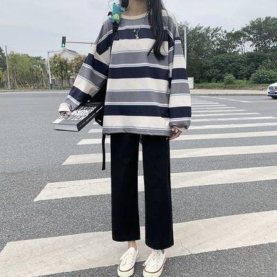 67419/秋季新款套装女学生韩版宽松阔腿裤+条纹长袖卫衣时尚休闲两件套