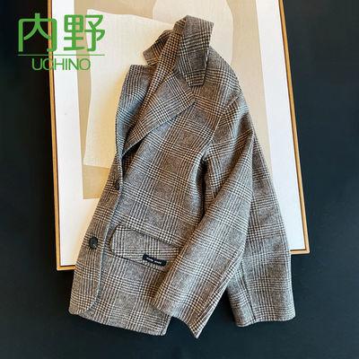 内野羊绒羊毛呢格纹双排扣中长款夹克大衣女外套秋冬女装复古上衣