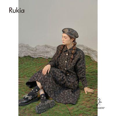 79081/希里秋装气质女神范套装暗黑肌理花朵衬衫半裙盐系高级感两件套