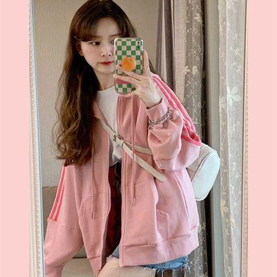 2021年新款连帽宽松百搭粉色拉链开衫卫衣上衣秋季长袖女士短外套