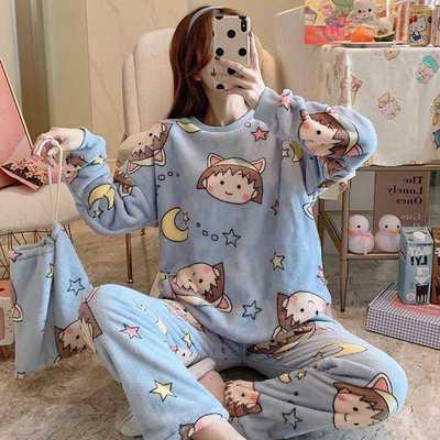 69282/秋冬季长袖法兰绒睡衣女加厚加绒女士韩版卡通可爱保暖家居服套装