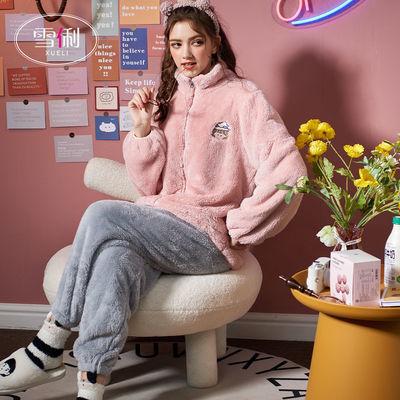 雪俐2021年珊瑚绒睡衣女秋冬季运动卡通加厚法兰绒家居服简约套装