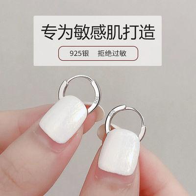 72809/S925纯银耳环女气质简约光面耳扣睡觉不用摘耳圈2021年新款耳钉女