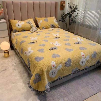 77798/【床盖】新款牛奶绒四季加厚床盖绗缝夹棉花边防滑双面双人床儿童