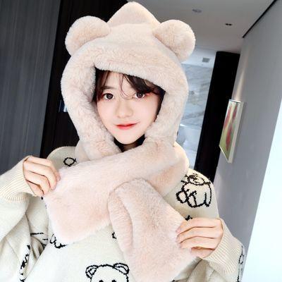 小熊帽子围巾女秋冬季一体加厚保暖仿兔绒帽学生韩版可爱新款百搭