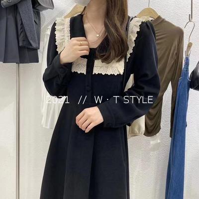 75989/2021新款早秋撞色收腰V领灯芯绒中长款连衣裙法式裙子气质显瘦潮