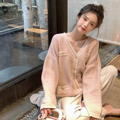 91538/珍珍家小香风针织开衫女2021年早秋新款上衣韩版外搭V领毛衣外套