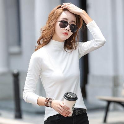 2021秋季新款半高领打底衫女长袖t恤修身紧身显瘦百搭韩版上衣