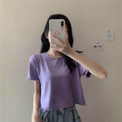 67390/2021年夏季新款韩版木耳卷边短袖T恤女短款显瘦上衣服ins潮
