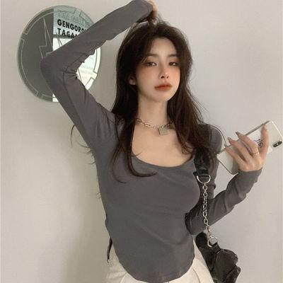 75053/U领设计感小众纯色长袖T恤女早秋欧美辣妹打底衫不规则修身上衣潮