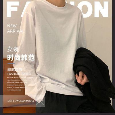 白色打底衫女秋季2021新款韩版女装洋气内搭纯色学生长袖t恤女潮