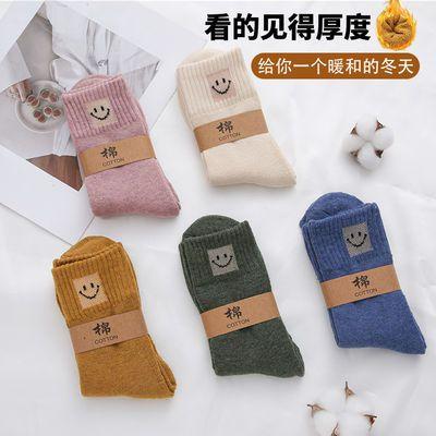 袜子女秋冬加绒加厚中高筒保暖袜毛圈袜月子袜长筒棉袜毛巾地板袜
