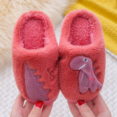 儿童棉拖鞋防滑软底男女室内亲子加绒新款秋冬中大童可爱恐龙拖鞋