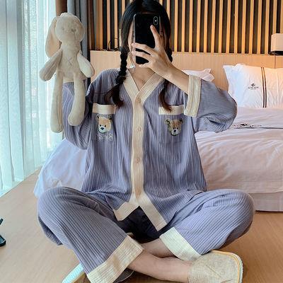 73146/睡衣女春秋季纯棉2021年新款可爱紫色坑条长袖两件套装夏冬家居服