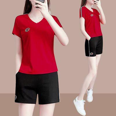 72609/2021新款夏季韩版短裤运动服套装女士时尚宽松薄款短袖休闲两件套