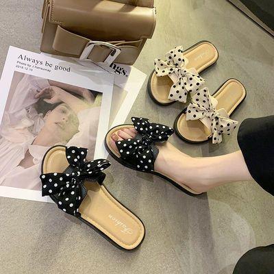 68634/女士拖鞋2021新款波点蝴蝶结低跟一字拖外穿时尚凉拖办公室懒人拖