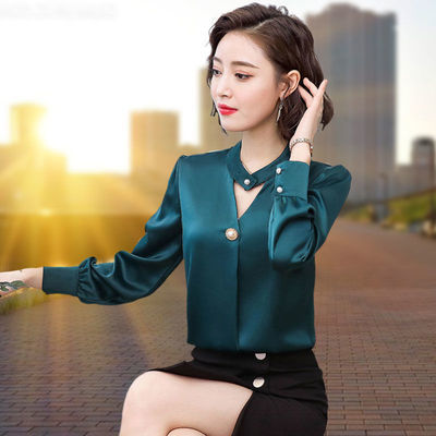 69118/V领大码高档雪纺衫女长袖2021秋新款衬衫内搭衬衣打底衫韩版显瘦