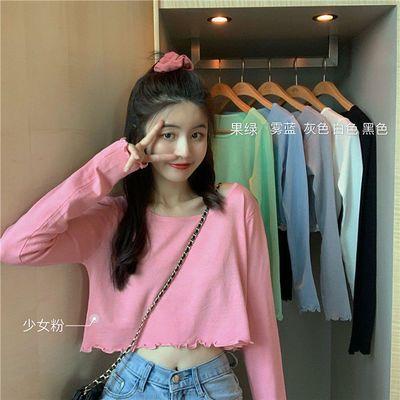 68839/2021新款秋季韩版高腰短款露脐木耳边上衣女修身显瘦长袖防晒t恤