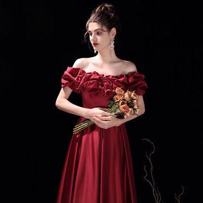 75230/一字肩新娘敬酒服2021新款订结婚优雅气质性感显瘦晚礼服裙女长款