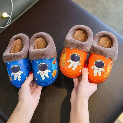 儿童棉拖鞋防水PU皮面中小童卡通亲子防滑可爱保暖男女孩包跟棉鞋